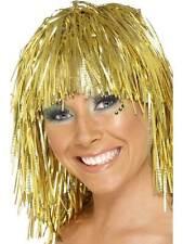 Short Gold Straight Wig, Cyber Tinsel Wig 1980's Fancy Dress #AU