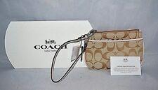 COACH WRISTLET #F45659 Khaki Signature C Zipper Closure, Leather light Pink Trim