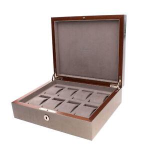 RRP €670 RAPPORT LONDON Wood Watch Case Polished Panel Key & Lock