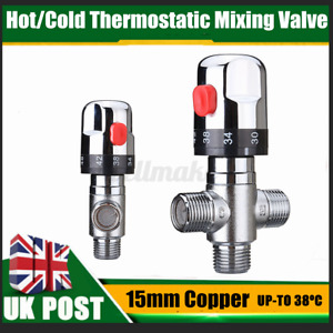 15MM Silver Hot/Cold Thermostatic Shower Mixing Blending Valve For Wa