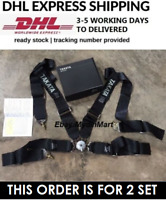 """2 x Seat Belt Harness TAKATA BLACK 4 Point Snap-On 3"""" With Camlock Racing DHL"""