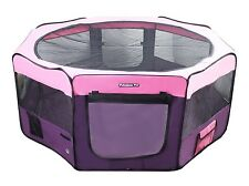 "62"" Portable Puppy Pet Dog Soft Tent Playpen Folding Crate Pen New - Pink/Purple"