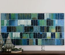 Modern Blue Green Tiles Painting Wall Art | Contemporary Mosaic Artwork