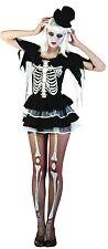 Ladies Sexy Skeleton Bones Halloween Fancy Dress Costume Outfit UK 10-12-14