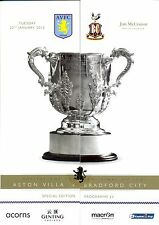 ASTON VILLA v  BRADFORD 2012/13 CAPITAL ONE CUP SEMI FINAL MINT PROGRAMME