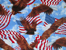 AMERICAN EAGLE USA FLAG FLYING EAGLE COTTON FABRIC FQ