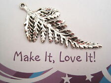 1 x LARGE LONG FERN LEAF ANTIQUE SILVER Charm Pendant 63mm LEAVES Woodland