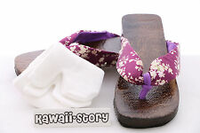 K-G-08 Geta purple Japanese Wood Sandal Socks for Kimono Yukata 9 5/8in/Size 38