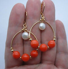 Smooth Orange Coral Gold Hoop Earrings --Leverbacks A1019