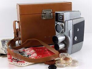 Revere Model CA-4 Eye-Matic 3 Lens 8mm Wind-up Movie Film Camera w/Case & Manual