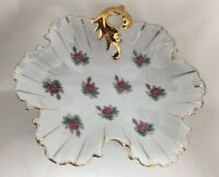 Ruffled Edge Floral Trinket Vanity Candy Dish Vintage Ucagco Japan Gold