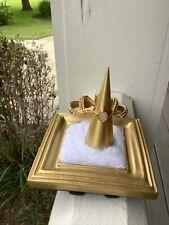 NEW 10K Rose Gold Oval Disc (Monogram) Diamond Halo Ring