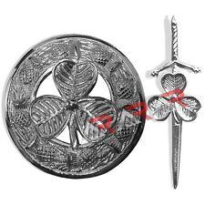 Brand New Shamrock Kilt Pin and Brooch Badge Fly Plaid High Quality Chrome End