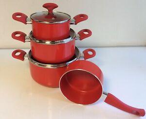 Cucinella Topfset 4tlg. Topf 4 Töpfe 3 mit Deckel Keramikbeschichtung ROT R2A/2