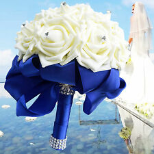 Handmade Royal Blue Ribbon Ivory Foam Roses Wedding Bridesmaid Bridal Bouquet