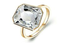 Gold and White Crystal Rectangle Stone Adjustable Ring FR168