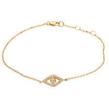 DAINTY 14K YELLOW GOLD PAVE DIAMOND EVIL EYE CHARM CHAIN BRACELET