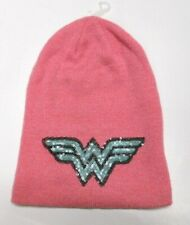 f8026792962be NEW DC COMICS WONDER WOMAN sequin PINK KNIT BEANIE HAT o s