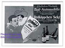 Audi Zwickau & Rotkäppchen Sekt Freyburg Reklame 1914 Raucher Horch Werbung Dame