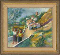Gösta Bjelkebo (1904-1974) - Signed and Framed Pastel, Mediterranean Village