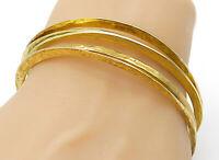 925 Sterling Silver - Gold Plated Hammered Stacking Bangle Bracelets - B7069
