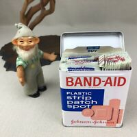 Band Aid Tin Vintage Box Strip Patch Spot Plastic Bandages ~Super-Stick~