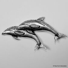 Dolphin Pair Pewter Pin Brooch -British Hand Crafted- Porpoise, Sea Marine Fish