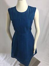 NEW J. Crew Dark Teal Laser Cut Fit Flare Dress 0 Cotton Silk Blend Beautiful