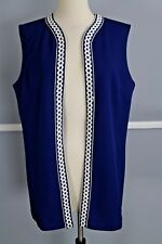 Vintage 1960s Vest Navy with White Squiggle Detail - X Large