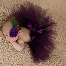 Newborn Baby Headband&Tutu Skirt Flower Peacock Feather Photo Costume Prop