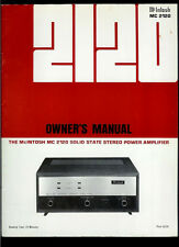 Rare Original Factory McIntosh MC 2120 Stereo Power Amplifier Owner's Manual