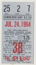 "PHILADELPHIA PHILLIES ""PHOLD"" TICKET STUB VS. CARDINALS 7/24/64 ALLEN CALLISON"