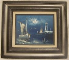 RIKARD LINDSTROM ORIGINAL SINED PAINTING - BOAT LIGHTHOUSE SEAGULL