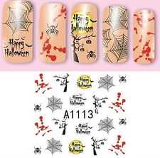 Nail Art Water Decals Halloween Blood Stains Black Spiders Web Gel Polish (A113)
