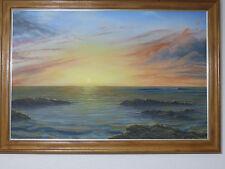 "Rare one!Listed H.D.WISHARD HAWAIIAN O/C ""sunset""1995 huge 40X28"" seascape nice!"