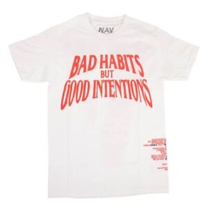 New VLONE x NAV White 'Bad Habits but Good Intentions' T-Shirt Exclusive Tee