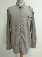 EE136 MENS BEN SHERMAN BROWN RED PATTERN L/SLEEVE COLLAR SHIRT UK L EU 52-54