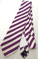 Paul Smith Stripe Tie 100% Silk 12mm Mauve Stripe 8cm Blade Made in Italy