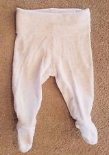 SWEET! BABY H&M 1-2 MONTH WHITE W/PINK POLKA DOTS FOOTED PANTS