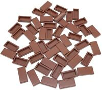 Lego 50 New Reddish Brown Tiles 1 x 2 with Groove Flat Smooth Pieces