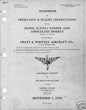 Pratt & Whitney R-1535 Twin Wasp Junior engine manuals historic rare 1950s