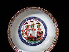 Impressive Japan Asian Porcelain Large Serving Bowl Ship Vintage Signed Colorful