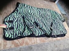 "81"" green zebra 1200 D Tough 1 med/heavyweight waterproof horse turnout blanket"