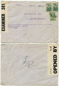 RUSSIA WW2 DOUBLE CENSORED ULJANOWSK to WHITFIELD KING STAMP DEALER 11 FEB 1942