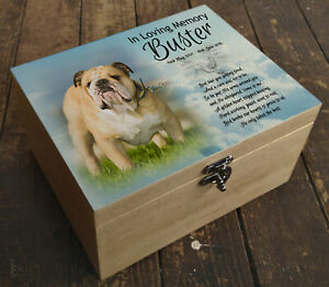 Wooden box casket urn, cremation ashes, memory box, Bulldog or any breed