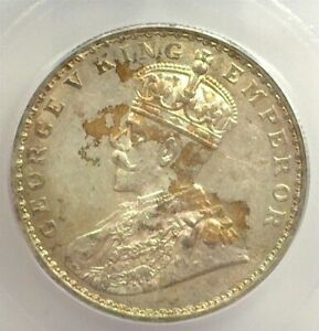 INDIA 1913(b) SILVER RUPEE ICG MS 60 KM 524