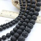 Round Black Lava Rock Gemstone Natural Stone For Jewelry Making Beads Strand15""