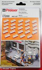 Preiser HO #17200 Park Benches -- Plastic, Unpainted