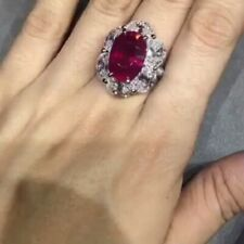 Perfect Oval Shape Red 5.05CT Ruby With Oval & Round 8.30CT CZ Halo Wedding Ring