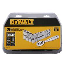 25 pc. DEWALT 3/8 in. Drive SAE  Metric Socket Set Mechanic tools New DWMT72161